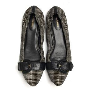 Banana Republic Glen Plaid Black Ballet Flats